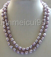 "nature 35"" purple baroque freeform nugget freshwater pearl necklace 8-9mm"