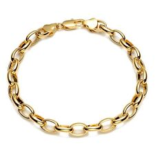 "18K Yellow Gold Filled Mens/Womens Bracelet Charms Chain 8"" ring Link Jewelry"