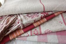 Antique French fabric vintage material PROJECT scraps faded  linen cotton