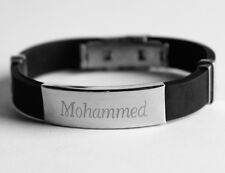 Name Bracelet MOHAMMED - Mens Silicone & Silver Tone Engraved - Fashion Gift