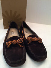 Womens UGG AUSTRALIA W Meena Brown Suede Leather Moccasins Drivers Sz 8.5 M NIB