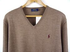NEW MENS 100% GENUINE RALPH LAUREN MERINO WOOL V-NECK JUMPER CAMEL XL RRP £110