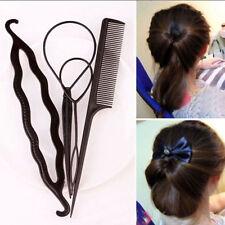 4x Femme Cheveux Twist Styling Clip Bun Bâton Outil Tresse Accessoire Peigne NF