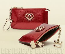GUCCI metallic Red Leather LOVELY Heart POUCH Case clip-on wallet NIB Authentic!