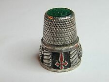 RED CROSSES & SHELLS  STERLING SILVER  SPANISH THIMBLE - (#122)