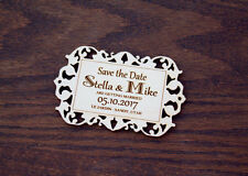 50 Wood Save the Date Magnets, Rustic Save the Date, Laser Engraved Card