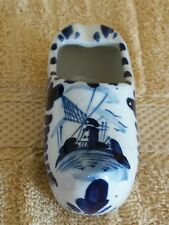 Delft Blue Ashtray Clog Shoe; Hand Painted Blue White Windmill;4 3/4""