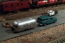 Pickup Truck and Camper N Scale vehicle (GREEN)
