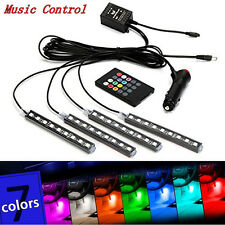 4x12LED Car Interior Footwell Decor Atmosphere Neon Light RGB W/ Remote Control