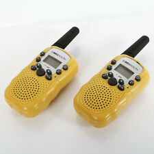 2PCS LCD UHF Auto Multi Channels 2-Way Radio Walkie Talkie T-388 Grey & Yellow
