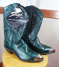 Sage Green Cowgirl Leather Boots Size 9.5 With Tag