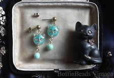 CAT EARRINGS Givres glass deco mint green turquoise to match feline cat necklace