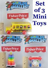 SET of 3 World's Smallest Fisher-Price Miniature Toys: BUS, PHONE & STACK New