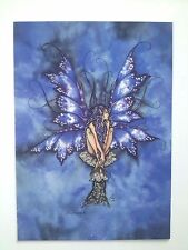 AMY BROWN NEW & MINT FAIRY POSTCARD/MINI ART PRINT Blue BUTTERFLY MUSHROOM FAIRY