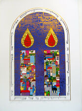 Israeli Art Judaica Shabbas Candles Lithograph-Saad Hand Signed Numbered