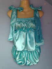 aqua satin dress + pants adult baby fetish sissy french maid cosplay 36-48