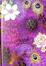 pOOCH & sWEETHEART Scripture Brooch Journal~ Purple Peacock Feathers Matthew 7:7