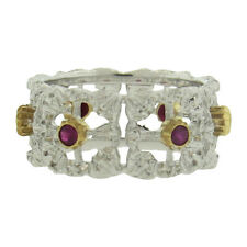 Buccellati 18k Gold Ruby Wide Wedding Band Ring