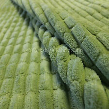 Soft Corduroy Brick Waffle Texture Upholstery Interior New Pastel Green Fabric