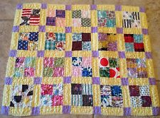 Patchwork Small Quilt, Four Patch, 1940 Era, Multi Color Calicos And Solids