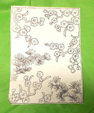Asian Flowers background unmounted rubber stamp Card making large stamps leaves