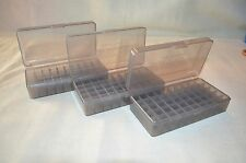 (3) 45 ACP / 40 cal / 10 mm NEW 50 RND PLASTIC AMMO BOXES (SMOKE) COLOR