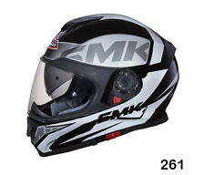 SMK Helmets - Twister - Logo Black Grey White - Full Face Dual Visor Bike Helmet