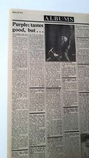 DEEP PURPLE Come Taste The Band album review 1975 UK ARTICLE / clipping