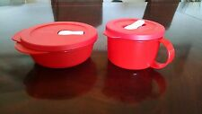 NEW Tupperware CrystalWave Soup Mug and 2.5 cup Round containers rare in RED