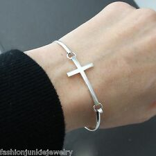 Sideways Cross Bangle Bracelet - 925 Sterling Silver - Sideways Cross Jewelry