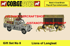 Corgi Toys GS 8 Lions of Longleat Land Rover Gift Set Large Poster Sign Leaflet