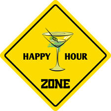 "*Aluminum* Happy Hour Zone Funny Metal Novelty Sign 12""x12"""