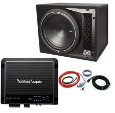"Rockford Fosgate Punch P1-1x12 12"" Enclosed Subwoofer + R500X1 Amplifier + Kit"