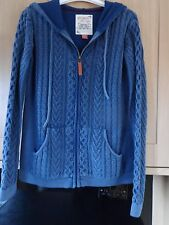 LADIES BLUE FALMER ZIP FRONT HOODED CARDIGAN /JACKET size 8