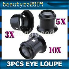 3PCS Watch Eyes Loupe 3X 5X 10X Jeweller Optical Glass Magnifier Magnifying Tool