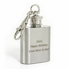 Personalised 1oz Stainless Steel  Hip Flask Keyring - Engraved Free - Christmas