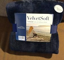 "Berkshire Blanket Velvet Soft Throw 50"" X 70"" Dark Blue New"