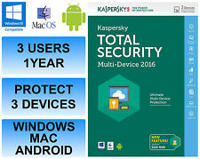 Kaspersky total seguridad de Internet 2016 Multi dispositivo 3 Usuario 1 Año FFP Retail Dvd