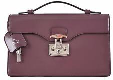 NEW Gucci 331823 Plum Purple Leather SMALL Lady Lock Structured Purse Bag