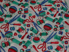 FABRIC Yard ~ SEWING ITEMS  - Thread, Pins, Scissors~ ON WHITE Cotton CRAFTING