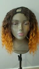 "100%hum hair u part wig 3/4 french curl  .230g  16"" sunset ombre SALE"