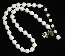 """Vintage MIRIAM HASKELL Signed Czech White Milk Glass Bead Choker Necklace 16"""""""