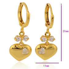 9K Gold Filled Clear Heart CZ Women's Hypoallergenic Dangle Earring