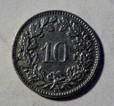 Schweiz / Helvetia - 10 Rappen 1908 B - Ni - fast vz / near unc erhalten