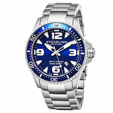 Stuhrling 842 01 Mens Swiss Professional Dive Blue Dial Stainless Steel Watch