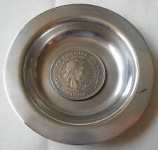 900 SILVER DISH SET W/ SILVER 10 PESOS 1961 COIN- REPUBLICA ORIENTAL DEL URUGUAY