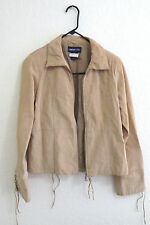 Limited Too Jacket XXL 100% Genuine Leather Tan Beige Brown Laces Fall Girls