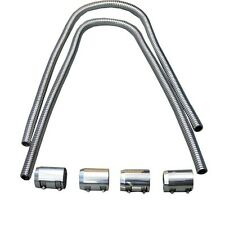 "44"" Chrome Stainless Heater Hose & Chrome Caps Universal"