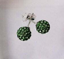 Shamballa Stud Earrings 8mm Green Swarovski Crystal Bead on 925 Sterling Silver