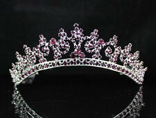 SEXY VIOLET AUSTRIAN RHINESTONE CRYSTAL CROWN TIARA COMBS BRIDAL WEDDING T301V